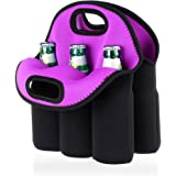 Hipiwe 6 Pack Beer Cooler Tote Bag, Extra Thick Neoprene Beer Bottle/Can/Beverage Carrier, Insulated Baby Bottles Tote…
