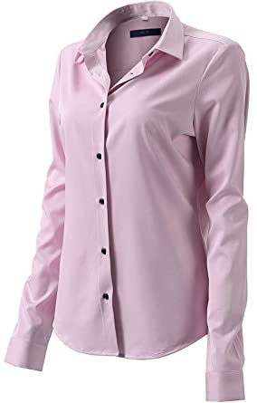 712c163bb8 Button Up Shirts for Women Basic Long Sleeve Simple Work Shirts Pink Size 6