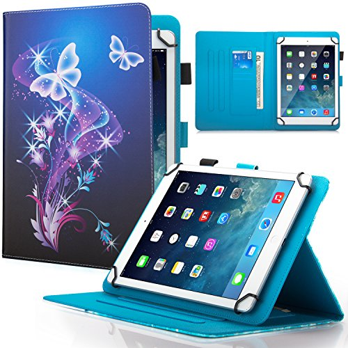 9.5-10.5 inch Universal iPad Case,Dteck Slim Folding Multi-angle PU Leather Magnetic Closure Case Cover [Cards/Money Slots] Flip Stand Wallet Protect Shell Case for All 9.5-10.5 inch Tablet,Butterfly