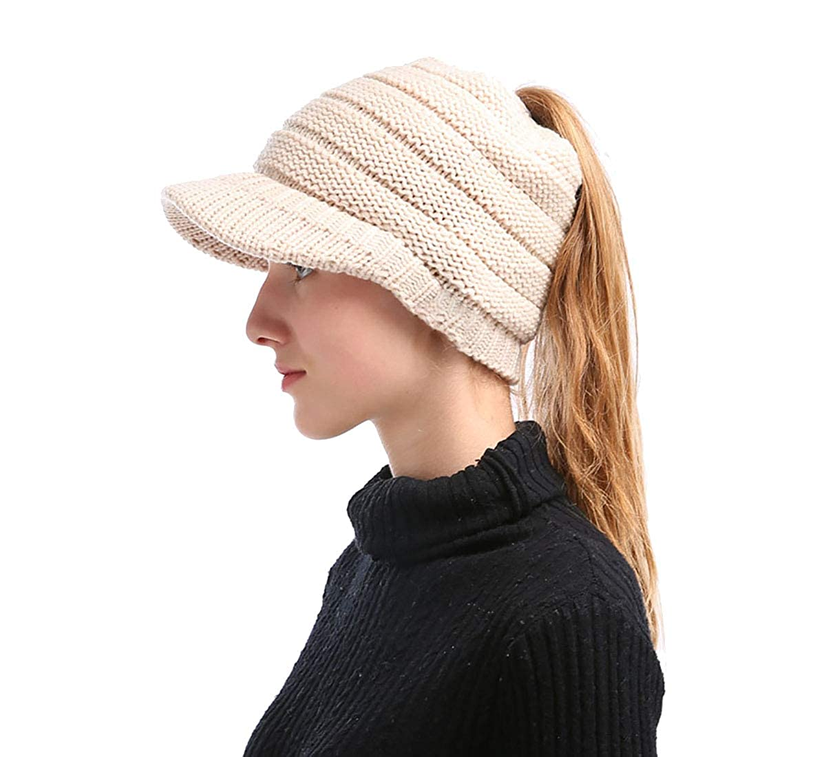 Sven Home Ponytail Hat Beanie Warm Knit Messy High Bun Ponytail Visor  Beanie Skullies Cap (Beige) at Amazon Women s Clothing store  5ca45d626e8