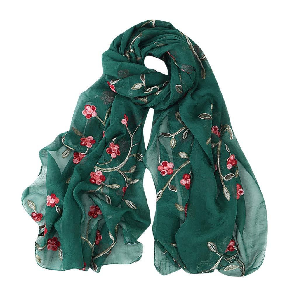 DEATU Hijab Scarfs for Women, Clearance Ladies Embroidery Chiffon Wrap Shawls Headband Muslim Scarf(M)