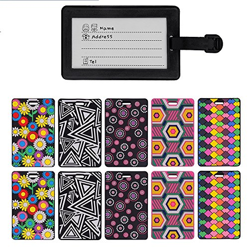 MerryNine Luggage Tags, Cool Luggage Tags, Bright Color Mosaic Pattern Durable Tag ID Holder for Suitcase, Set of 10 (5 Color Mixed) ()