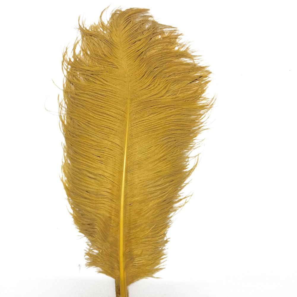 AABABUY Pack of 100,Naturl Ostrich Feathers 18-20inch (45-50cm) Plumes Wedding,Clothing,Party,Table Decoration,DIY (Golden)