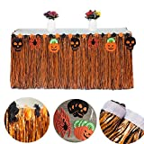 Ailiebhaus Halloween Grass Table Skirt Artificial Grass Hawaiian Style Tablecloth for Beach Luau Themed Party Halloween Tableware Decoration