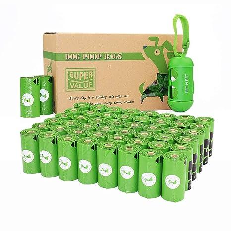 PET N PET N mascotas 48 rollos/720 cuenta respetuoso con el medio ambiente bolsas de caca de perro sin aroma con un dispensador