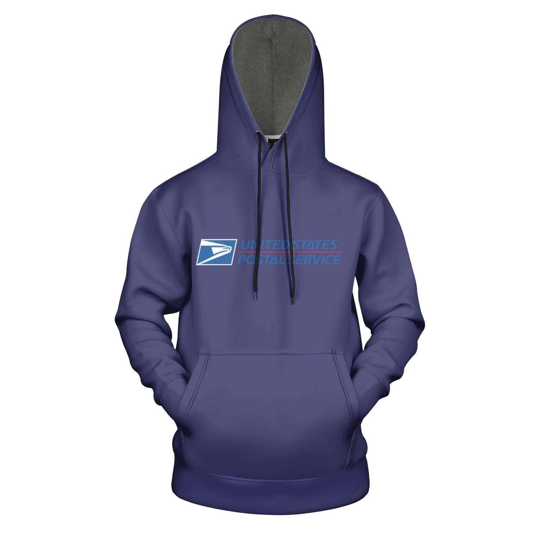 Dark Blue United States Postal Service Logo Total Print Pullover Hoodies Sweatshirt for Mens Fashion Coat