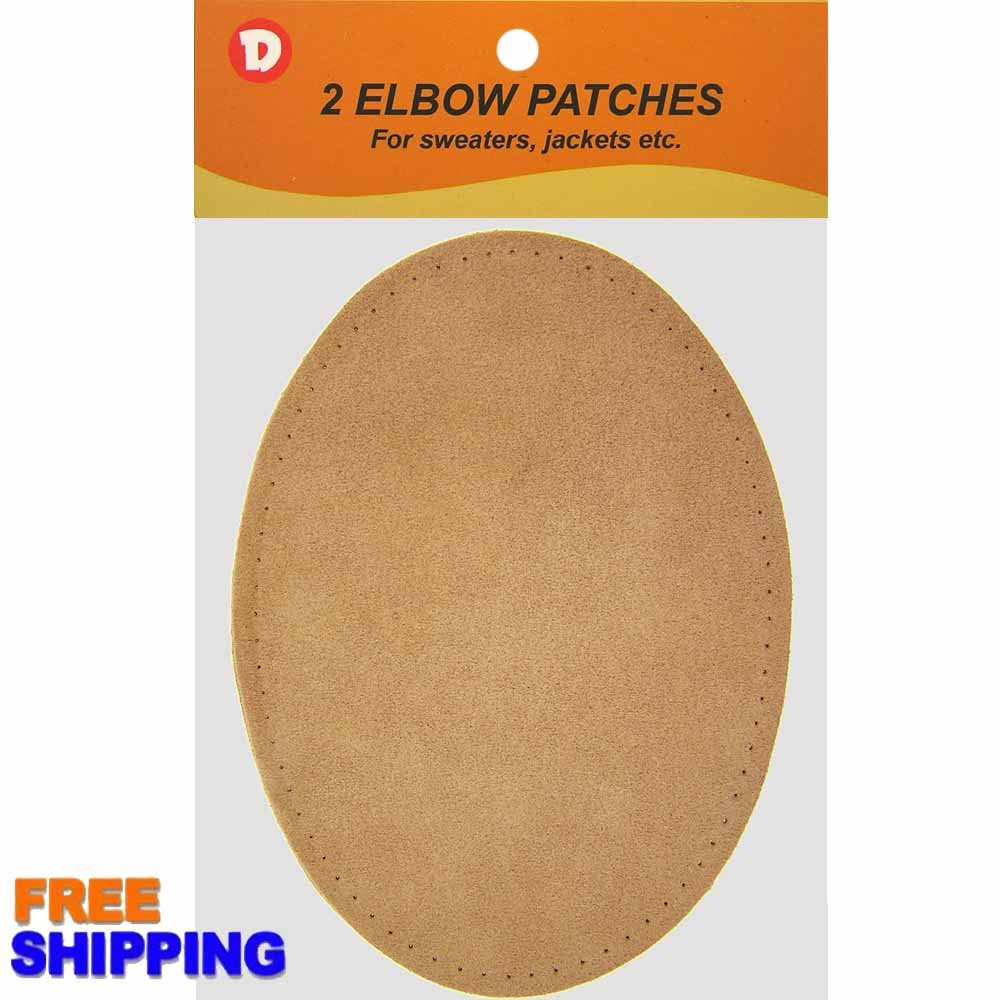Two Large Sew-On Natural Suede Elbow Patches 4.75 in x 6.5 in - Beige Dimecrafts