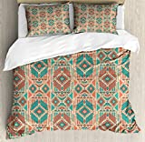 Mexican Queen Size Duvet Cover Set by Ambesonne, Vintage Pastel Toned Geometric Composition American Motifs, Decorative 3 Piece Bedding Set with 2 Pillow Shams, Pale Sea Green Coral Dark Coral