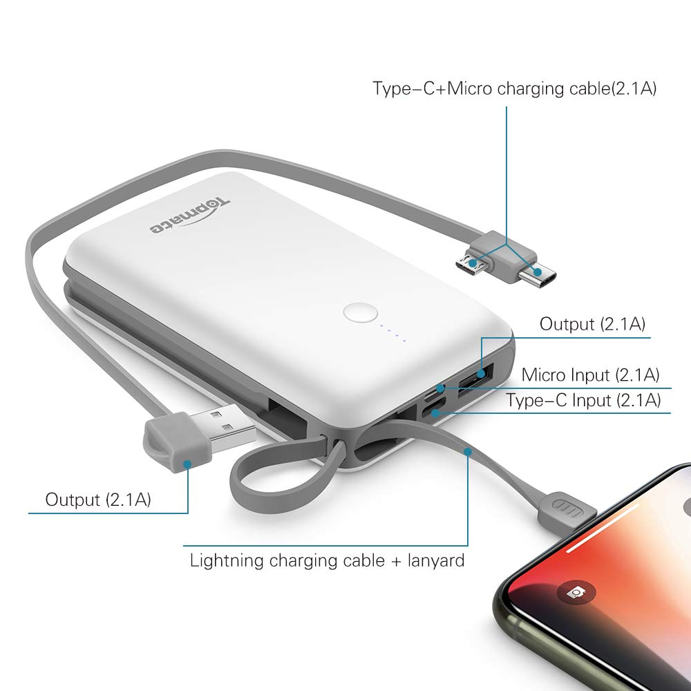 Power Bank Topmate 10000mAh Portable Charger with Built-in Type-C Micro & iOS Cable as Lanyard | Artifice Design for Cellphone and Pad etc. |White