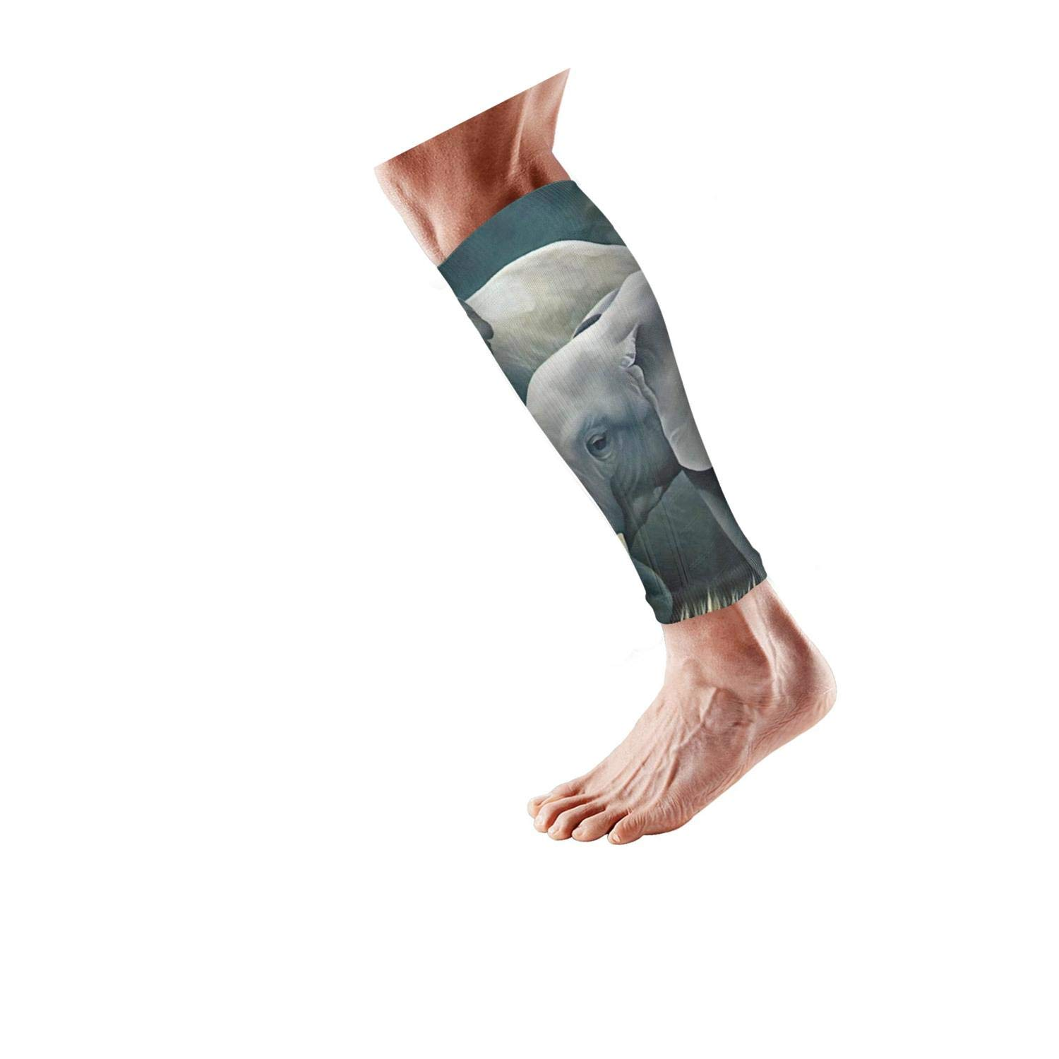 Smilelolly oil painting elephant Calf Compression Sleeves Helps Calf Guard Leg Sleeves for Men Women 3