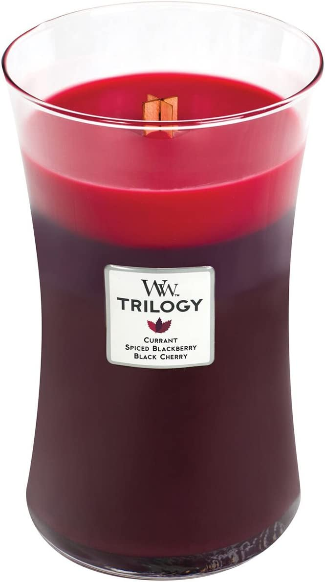 WoodWick Trilogy Sun RIPENED Berries, 3-in-1 Highly Scented Candle, Classic Hourglass Jar, Large 7-inch, 21.5 oz