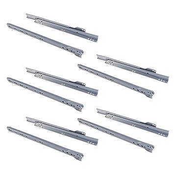 Emuca 3007725 - Guías correderas para cajones 350mm, Gris metalizado, lote de 5