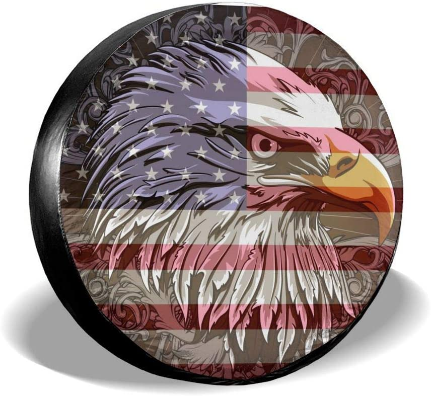 Jackmen Spare Tire Cover American Eagle Flag Polyester Universal Dust-Proof Waterproof Wheel Covers for Jeep Trailer RV SUV Truck and Many Vehicles 14 15 16 17