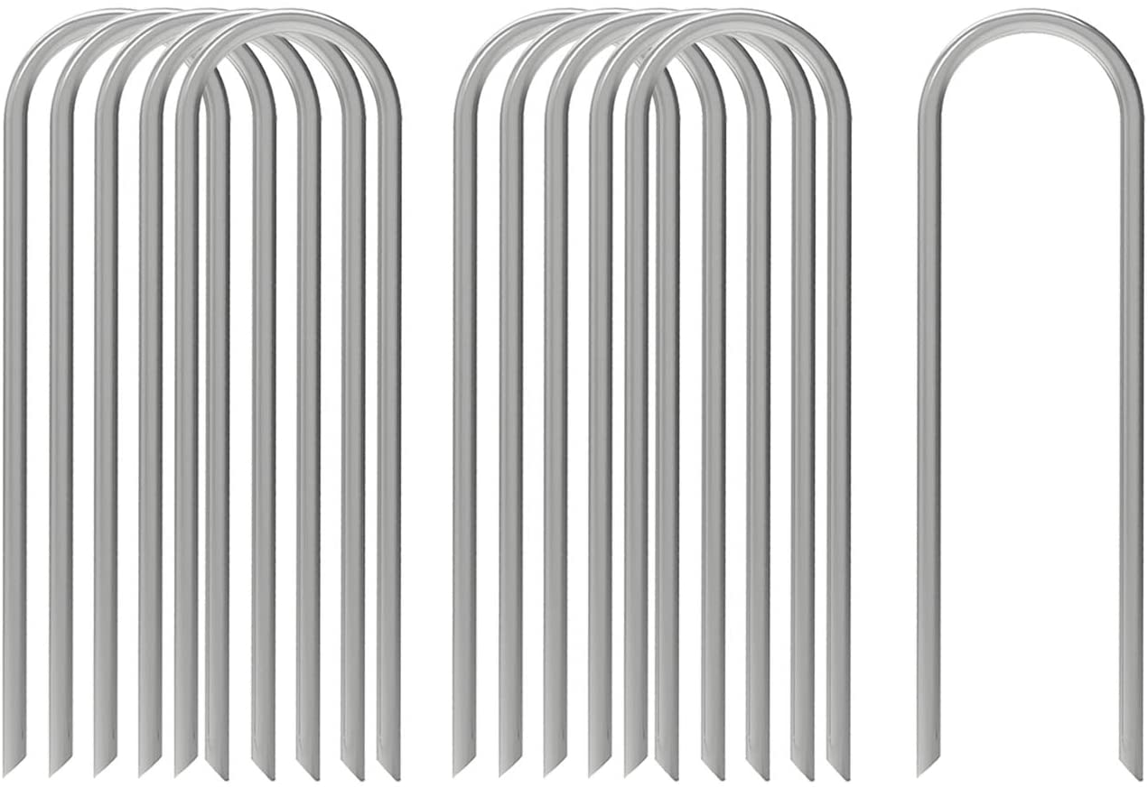 AAGUT 12 Inch Garden Stakes Heavy Duty 11 Gauge Landscape Staples Ground Tent Pegs/Spikes/Pins for Anchoring Dog Fence,Tubing Drip Irrigation Hose, Wire, Weed Barrier Fabric 100 Pack