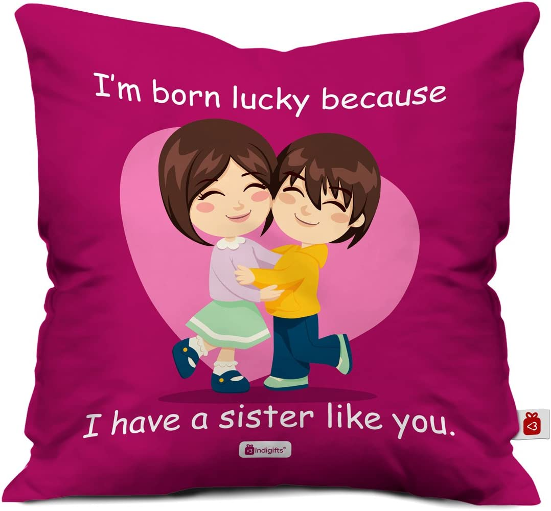 Amazon Com Indibni Sister Gifts Lucky To Have Sister Like You Quote Brother Sister Bond Pink 16 X16 Cushion Throw Pillow Case Birthday Gift For Sister Sister Quotes Best Sister Home
