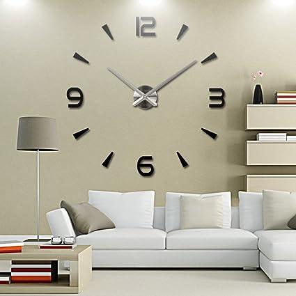 Amazoncom Adarl DIY Large 3D Number Mirror Wall Sticker Watch Home