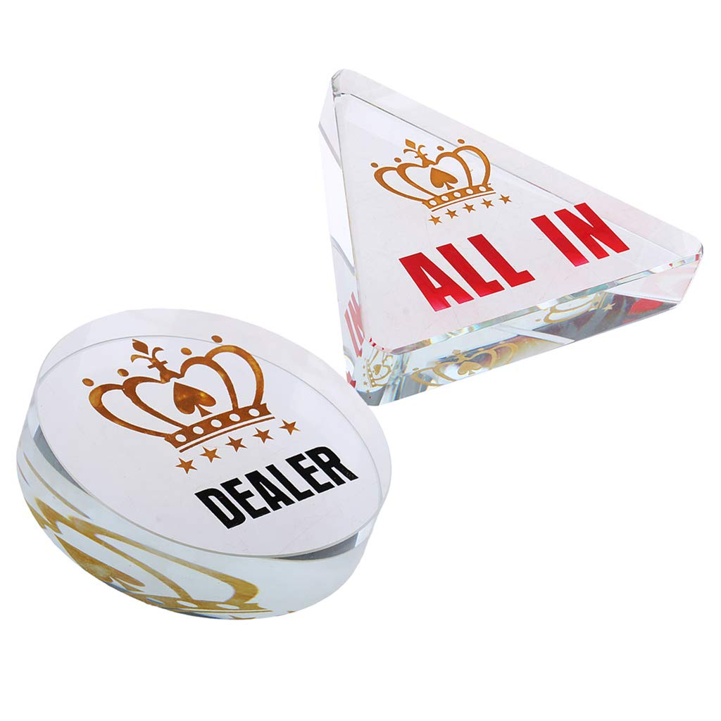 Fenteer 1 Set Acryl Poker Dealer und All-in Button fü r Kasino