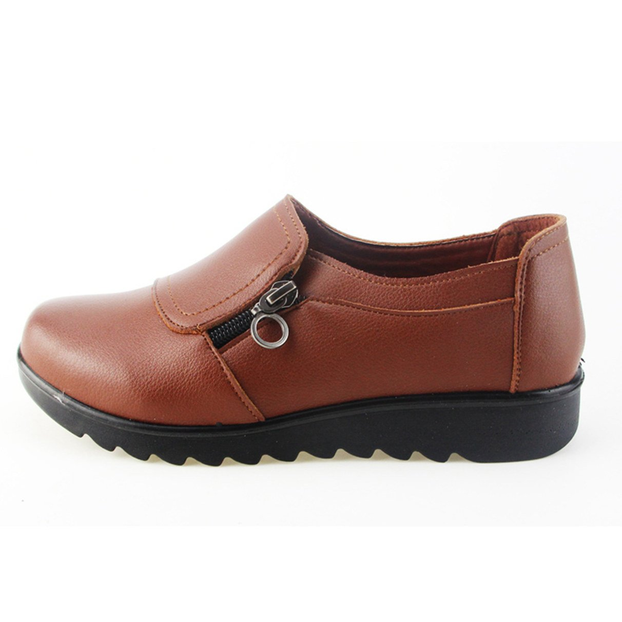 Women's Oxford Shoes, Fashion Casual Slip On Zipper Working Shoes