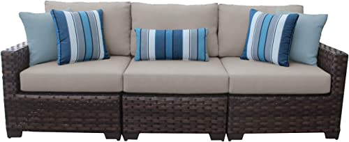 TK Classics Kathy Ireland River Brook 3 Piece Wicker Patio Furniture Set 03c