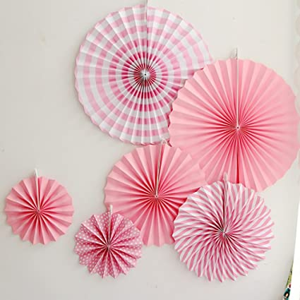 Amazon.com: LG-Free 12pcs Pink Wedding Tissue Paper Fan Round ...