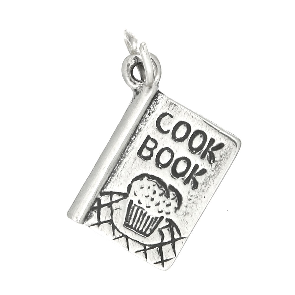 Sterling Silver Oxidized One Sided Recipe Cook Book Charm