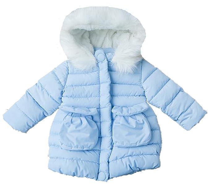 WYPH 2015 abrigo Tata Encaje de los niños de invierno y terciopelo con capucha gruesa capa acolchado Niños del Niño vestidos la niña Chaqueta azul Medium ...