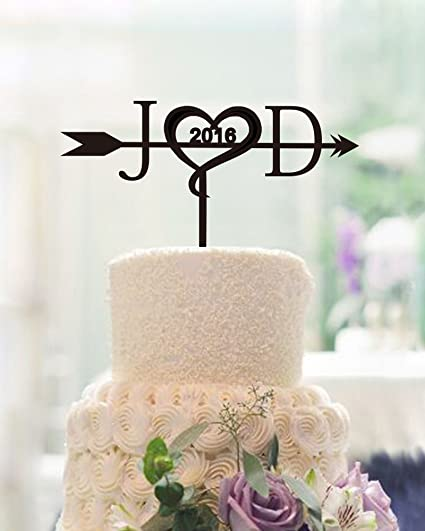 Amazon unique wedding cake toppers letter personalized initials unique wedding cake toppers letter personalized initials with arrow custom years wedding topper for cake junglespirit Image collections