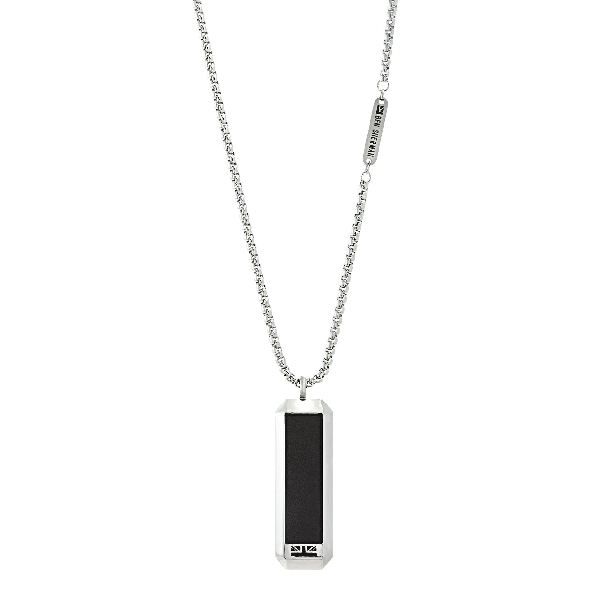 Ben Sherman Stainless Steel Men's Leather Dog Tag Pendant 26'' Box Chain Necklace (Black/Silver)