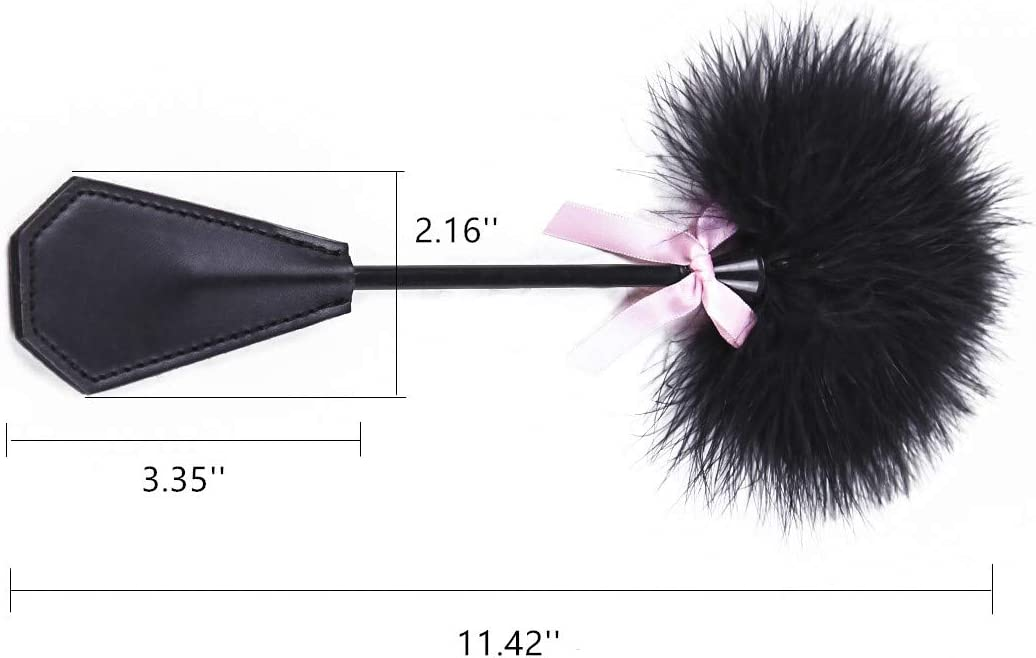 Hand Slapper Paddle Pink Bowknot Leather Horse Whip feather tickler