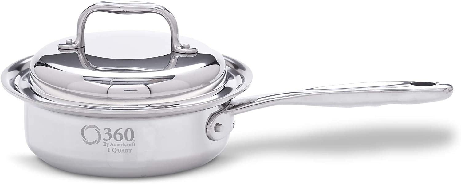 360 Stainless Steel Sauce Pan with Lid, Handcrafted in the USA, Surgical Grade Stainless Steel Saucepan, Induction Cookware, Waterless Cookware, Dishwasher Safe, Oven Safe, Professional Grade. 1 Quart