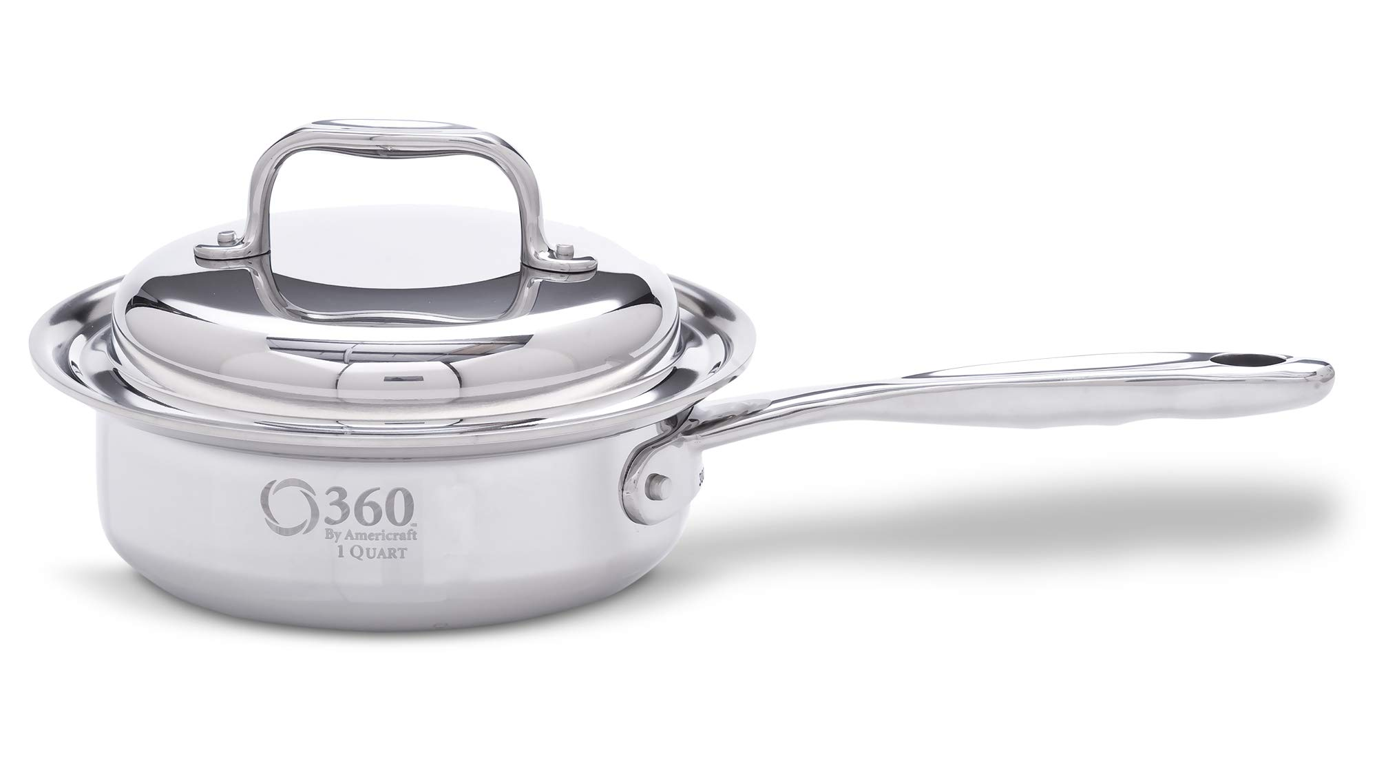 360 Cookware Stainless Steel Cookware, American Made, 1 Quart Pot with Cover for Gas, Electric, Induction Stoves. Waterless Cookware Cooking Capable, Lasts a Lifetime, Professional Grade