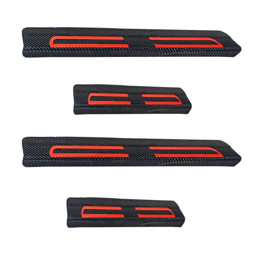 Car Decoration Door Sill Scuff Plate Door Sill Protectors Carbon Fiber Vinyl Sticker Red 4Pcs Tuqiang