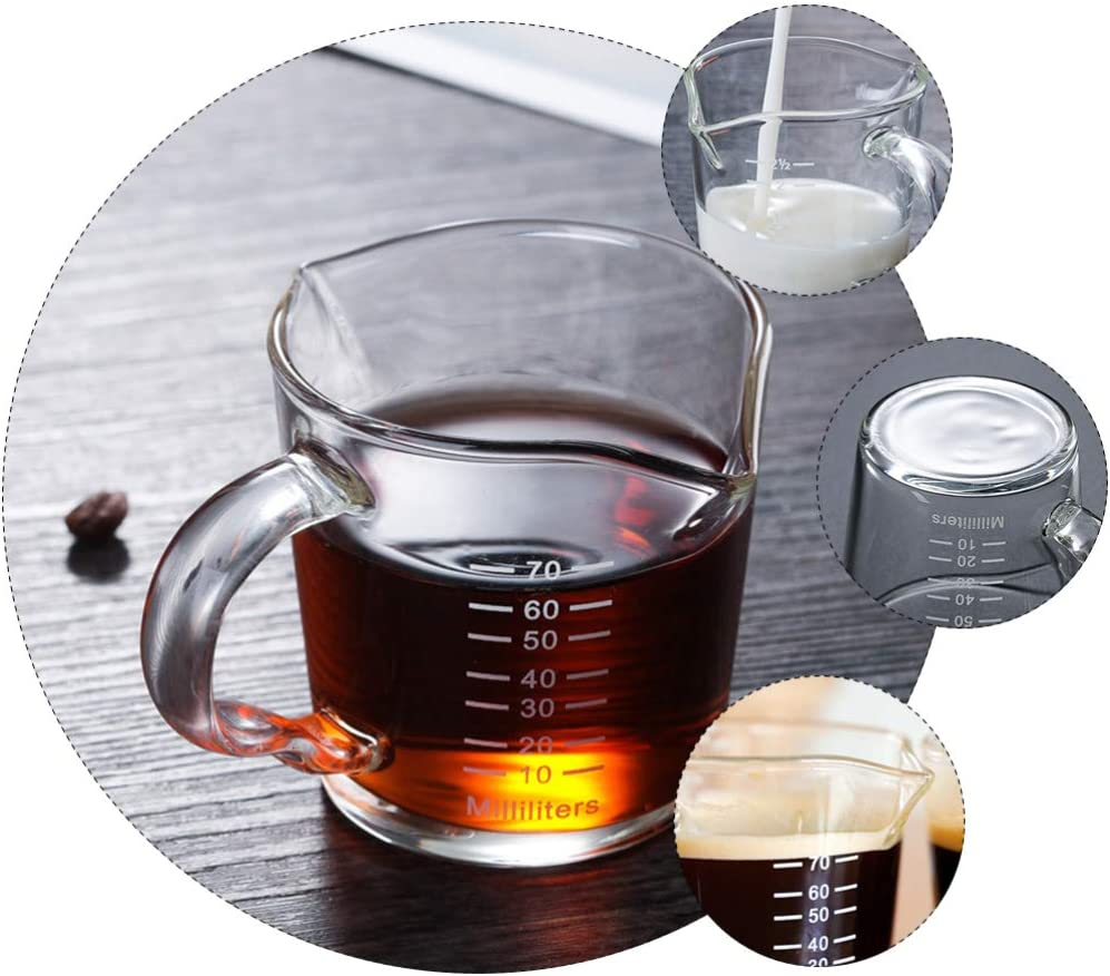 Cabilock Taza medidora de cristal con asa con b/áscula hecha a mano apta para lavavajillas resistente al calor 100 ml