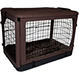 """Pet Gear The Other Door"""" 4 Door Steel Crate with Plush Bed + Travel Bag for Cats/Dogs, Sets up in Seconds No Tools Required, Built-In Handle/Wheels"""