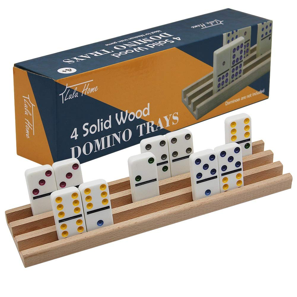 Lulu Home Domino Racks, 4 Professional Wood Domino Trays Premium Holder Racks Great for Mexican Train, Mahjong, Games
