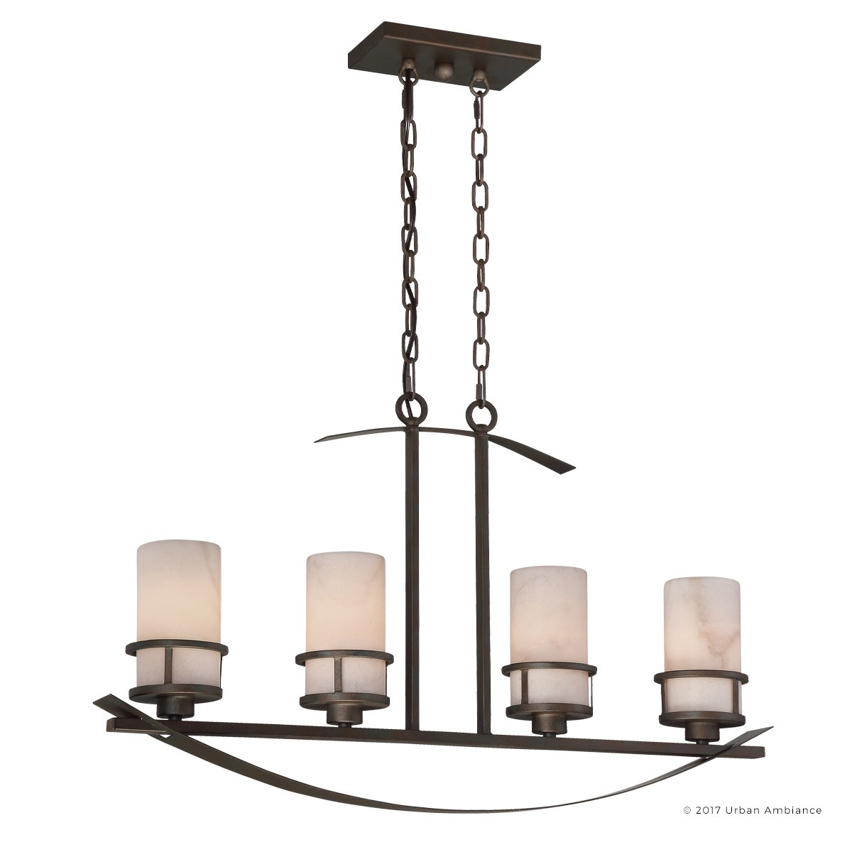 Luxury Rustic Chandelier, Large Size: 18.5''H x 32.5''W, with Craftsman Style Elements, Banded Wrought Iron Design, Forged Iron Finish and White Onyx Stone Shades, UQL2415 by Urban Ambiance by Urban Ambiance (Image #1)