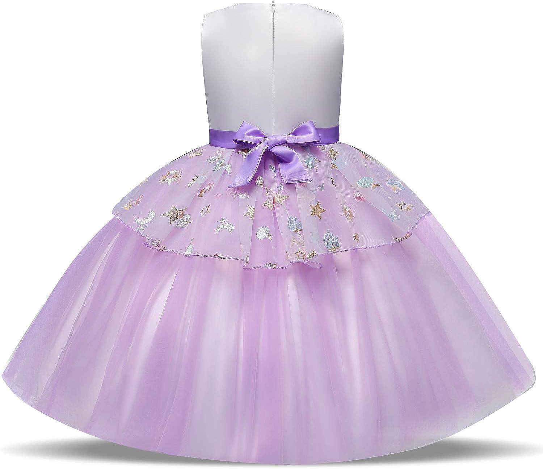 NNJXD Robe Licorne Enfant de Princesse avec Volants Cosplay pour Le Mariage et Les Parties