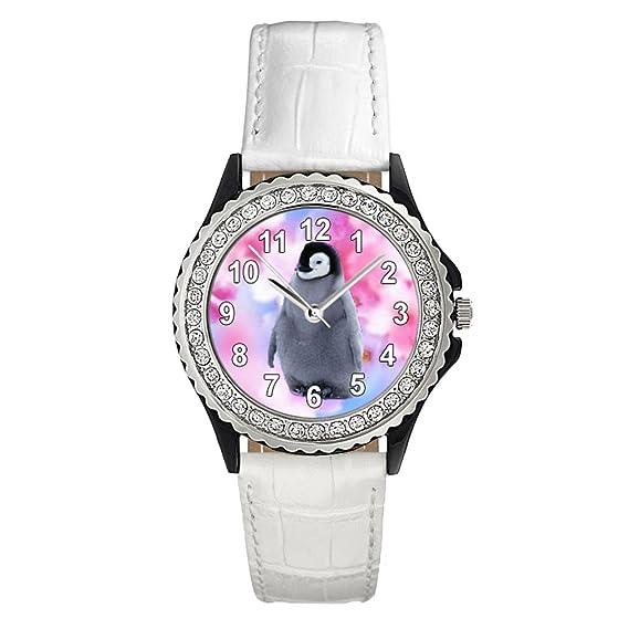 Timest - Pingüino Reloj del cuero blanco para mujer con piedrecillas Analógico Cuarzo CSG0030w