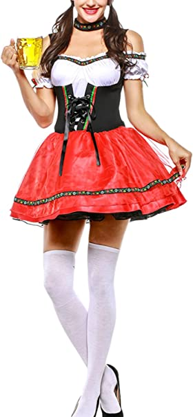 Zonsaoja Disfraces para Mujer Vestido Dirndl Bávaro Oktoberfest ...