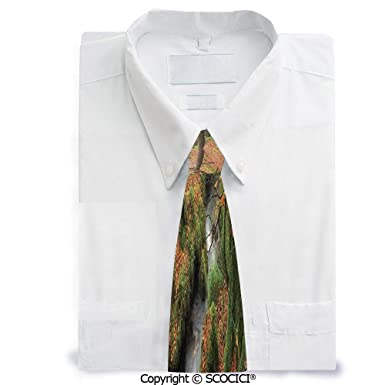SCOCICI Corbata de poliéster con diseño de bosque y arroyo en Goli ...