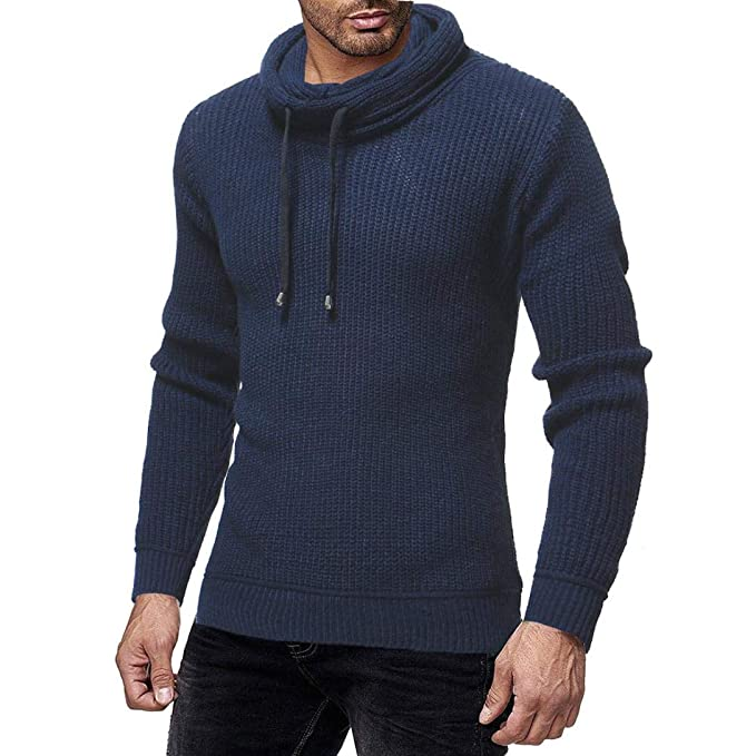 Resplend Los Hombres de Moda otoño Invierno sólido Pullover suéter de Cuello Alto Blusa Top