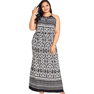 76b009099f Jose Pally Women Plus Size Sleeveless Maxi Dress Floral Print Halter Split  Side Hollow-Out