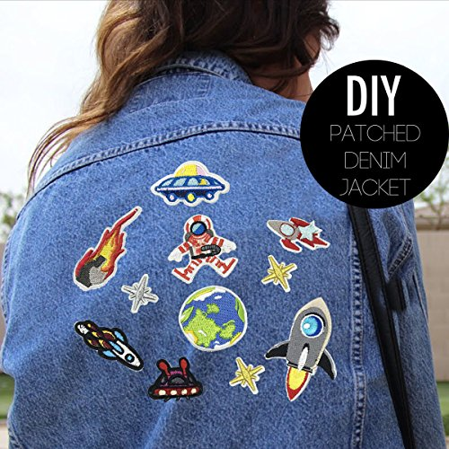 Clothing Coopay 14 Pieces Dinosaur Iron on Patches Embroidered Motif Applique Assorted Size Decoration Sew On Patches for DIY Jeans Jacket Caps Handbag Shoes