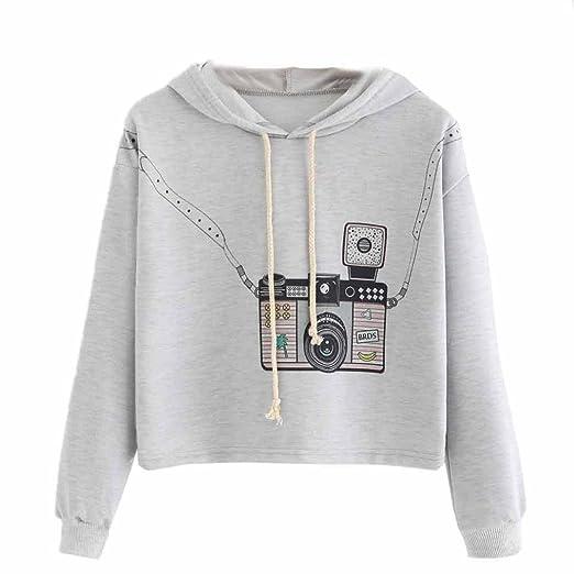 Amazon.com  Auwer Womens Camera Print Hoodie Sweatshirt Long Sleeve Jumper  Sweater Crop Top Coat Sports Pullover  Clothing c45b6919be