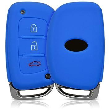kwmobile Funda de Silicona para Llave Keyless Go de 3 Botones para Coche Hyundai Kia - Carcasa Protectora Suave de Silicona - Case Mando de Auto Azul