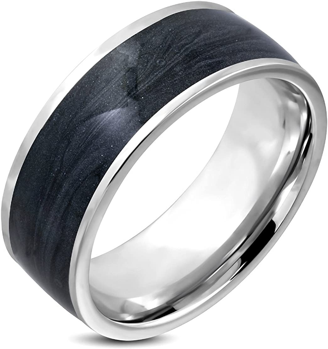 Stainless Steel Black Enameled Comfort Fit Half-Round Band Ring