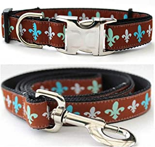 "product image for Diva-Dog 'Napoleon' Custom Medium & Large Dog 1"" Wide Dog Collar with Plain or Engraved Buckle, Matching Leash Available - M/L, XL"
