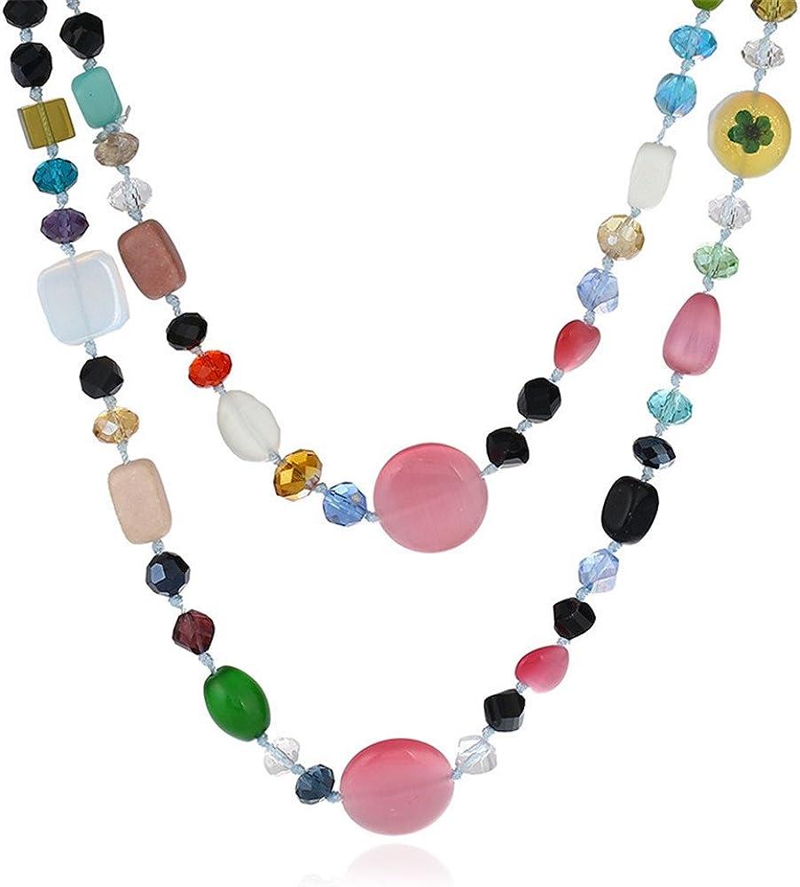 QXLDM Collar de la joyería de Las Mujeres Geometría Collar Color Mezclado Traje sección Larga Ojo de Gato Piedra artículo Cadena de suéter Mujer