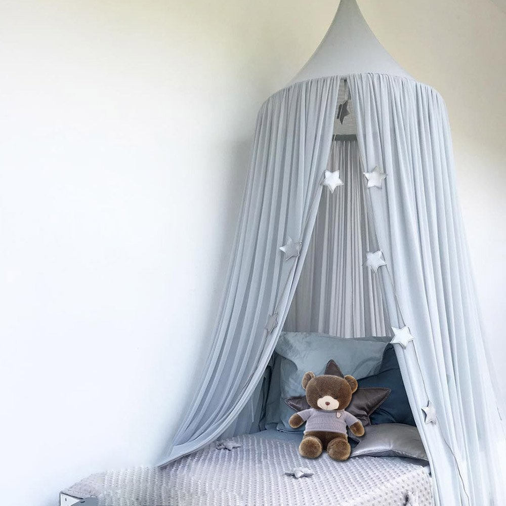 Mosquito Net Canopy Grey Chiffon Dome Reading Nook Tent for Baby Kids Indoor Outdoor Playing Reading