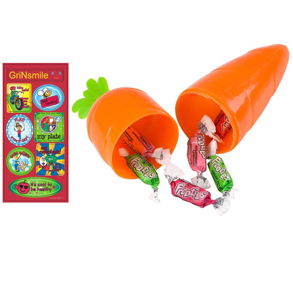 Grab Bags Carrot Shaped Container ~ Great For Easter Hunting Bonus Sticker Included Birthday Set of 12 Holiday